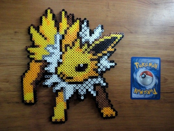 items similar to jolteon pokemon perler bead sprite on etsy