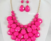 NEW Fushia Drop Necklace,Statement Bubble Necklace,Chunky Necklace,Cluster Necklace-BN295 - WuJewelry