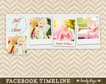 Holiday Timeline Cover for Facebook Christmas Template for Photographers INSTANT DOWNLOAD