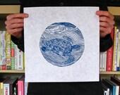 Lost At Sea Pt.3 woodcut print