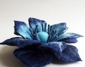 "Felted Flower Brooch, Hand Felted Jewelry, Flower Pin, ""Fancy flower in blue colors""(MADE TO ORDER)"