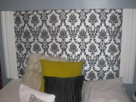 ... similar to elegant black and white fabric covered headboard on Etsy