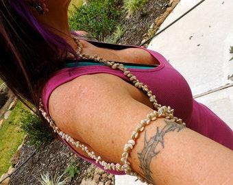 Sea shell shoulder harness, body chain jewelry