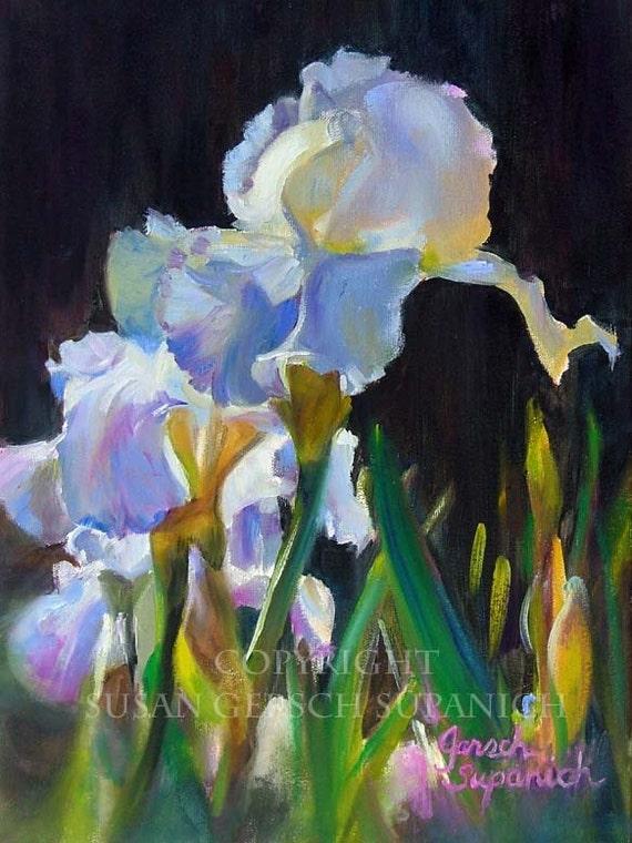"""Art Print  """"Graceful Blooms"""" colorful art floral iris still life painting 11 x 14 print - Susan Gersch Supanich"""