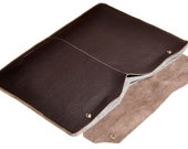 FREE SHIPPING 13 inch Macbook Pro sleeve - Dark Brown leather with Grey Wool Felt