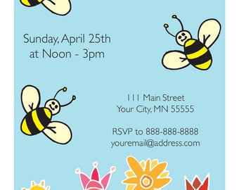 Bee Birthday Invite