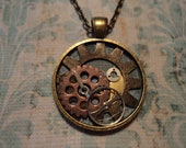 Steampunk-inspired watch and gears pendant
