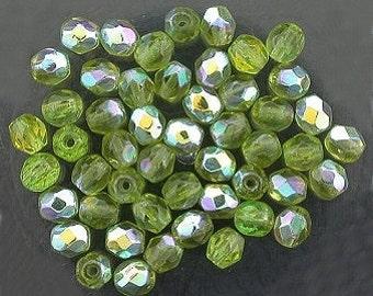 25 olivine  ab czech fire crystal beads 4mm