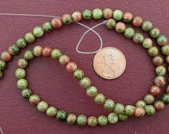 6mm round gemstone unakite beads