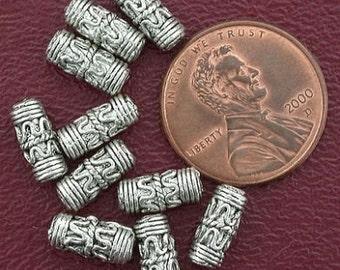 10 10mm barrel bali pewter beads