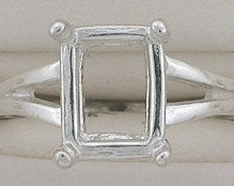 sterling silver 10x8 octagon ring mounting size 6
