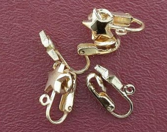four 9mm goldplated star clip on earrings with loop