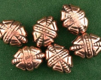 six pure copper 12x10 bowtie oval casted designer bead