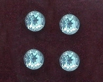 four 3mm to 3.5mm  round blue topaz gem stone gemstone