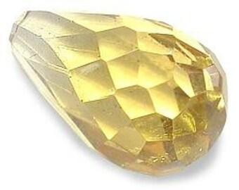 two 10mm x 6mm citrine briolette gemstone gem stone