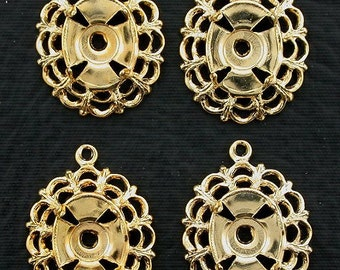 four brass 10x8  filigree cabochon mounting