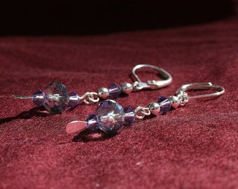 Amethyst Swarovski crystals and blue/purple Chinese crystal earrings