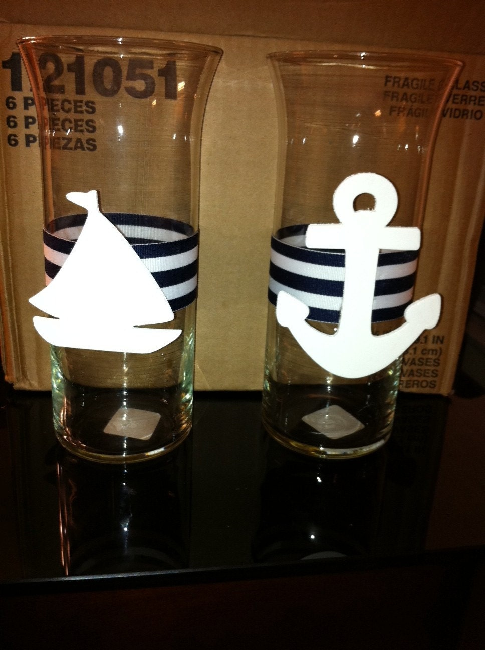 nautical centerpiece vase for baby shower by fandjdivinedecor