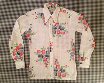 light-weight, button up collar shirt, with white on white plaid and red and blue flowers