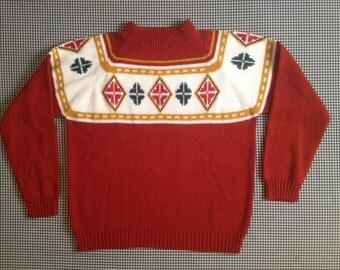 1960's, raglan cut, winter rust sweater with diamond pattern