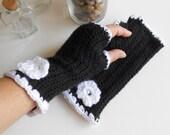 Black Fingerless, Black Crochet, Black Gloves, Crochet Flower, Crochet Fingerless Gloves