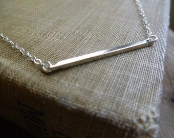 Silver Bar Necklace / Minimalist Slim Bar Pendant on a Sterling Silver Chain / Sideways Silver Bar Necklace