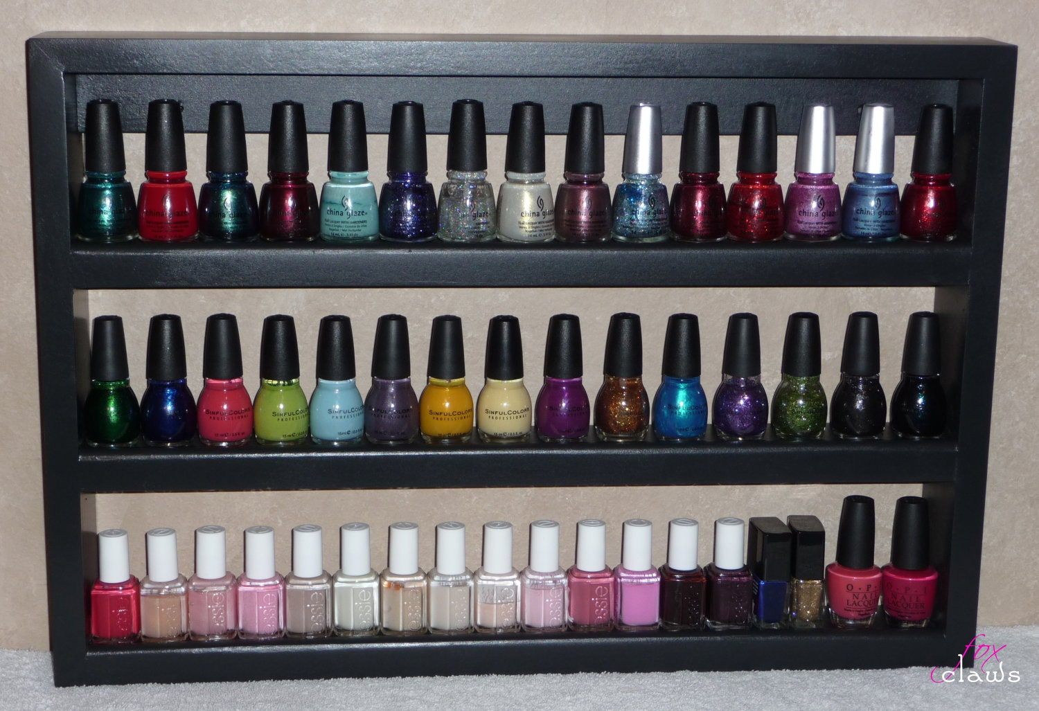 wood nail polish rack small 1 tier 39 roxy 39 rack line by. Black Bedroom Furniture Sets. Home Design Ideas