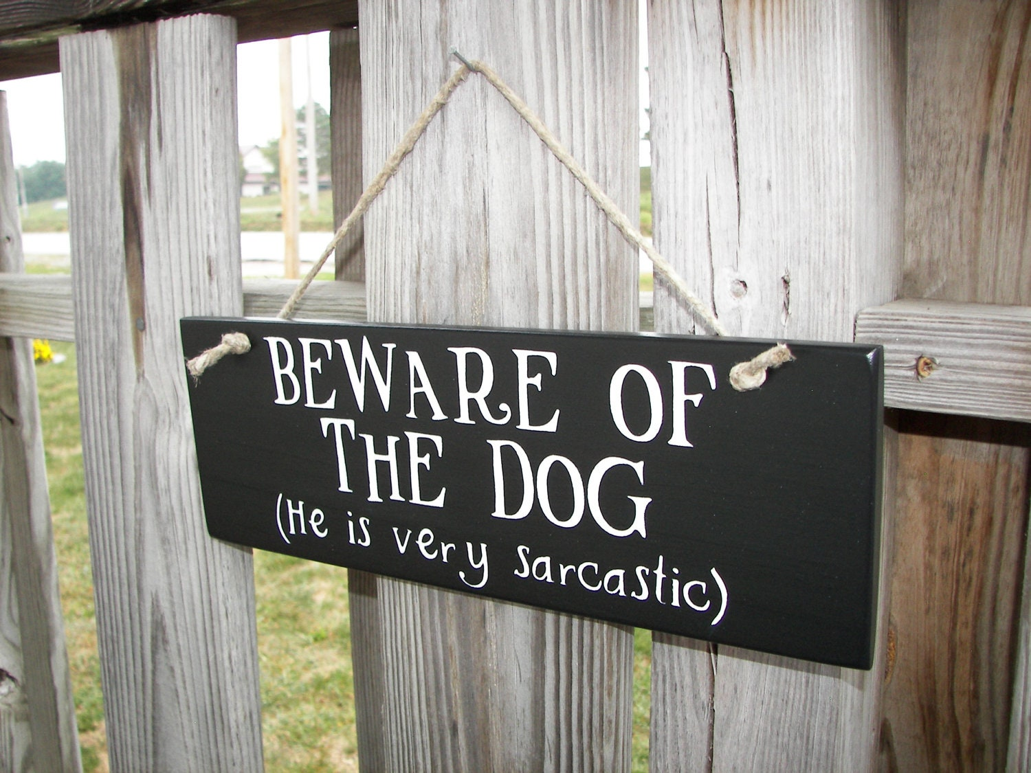Wood sign beware of dog home decor handmade funny for Odd decorations for home