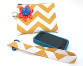 Clutch - Wallet - Wristlet  Yellow Chevron  with Blue Zipper Closure and Flower