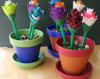 Custom - Flower Pot Pen Holder with 3 Duct Tape Flower Pens