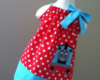 Thomas The Train pillowcase style dress for girls.