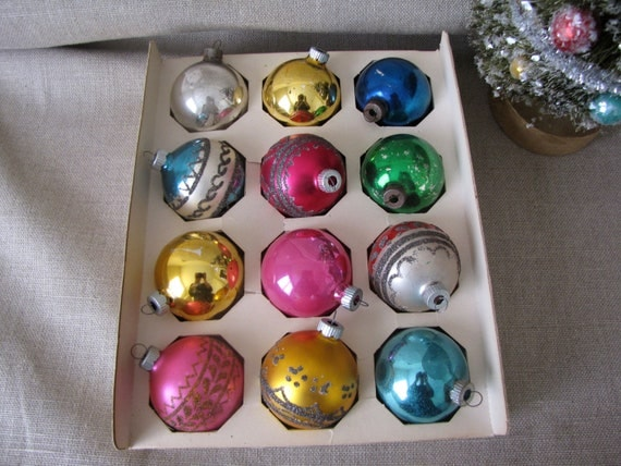 Set of 12 Vintage Shiny Brite Glass Christmas Ornaments