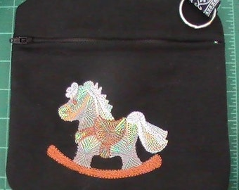 Black Cotton Clutch Zipper Case Embroidered with Roccking Horse