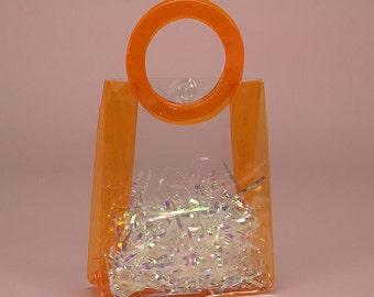Mini Orange Circle Handle Vinyl Bag