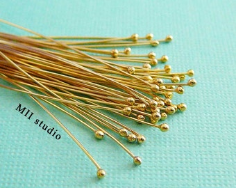 24 gauge 14k yellow gold filled Ball dot bead head pin headpins 2 inches F24g
