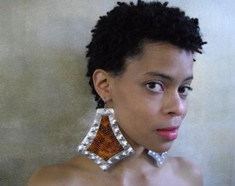 Large Earrings Tribal Leather Triangle Earrings