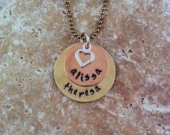 Personalized Mommy Necklace - Stacked Mixed Metals with Heart - Mom Mommy Grandma Mimi Nana Oma Gigi