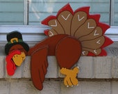 Sleepy Turkey Thanksgiving Fence/Shelf Decoration - DadandSonsWW