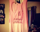 Baby Pink Dip Dyed Skull Cut Out Vest