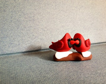 Cardinals in Love On a Branch - Polymer Clay -  Christmas decor