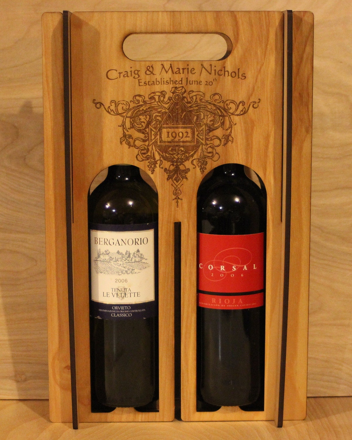 Personalized wooden wine box for Timber wine box