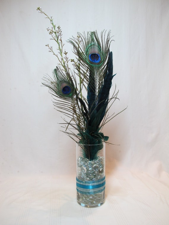Items similar to peacock feather table centerpieces on etsy