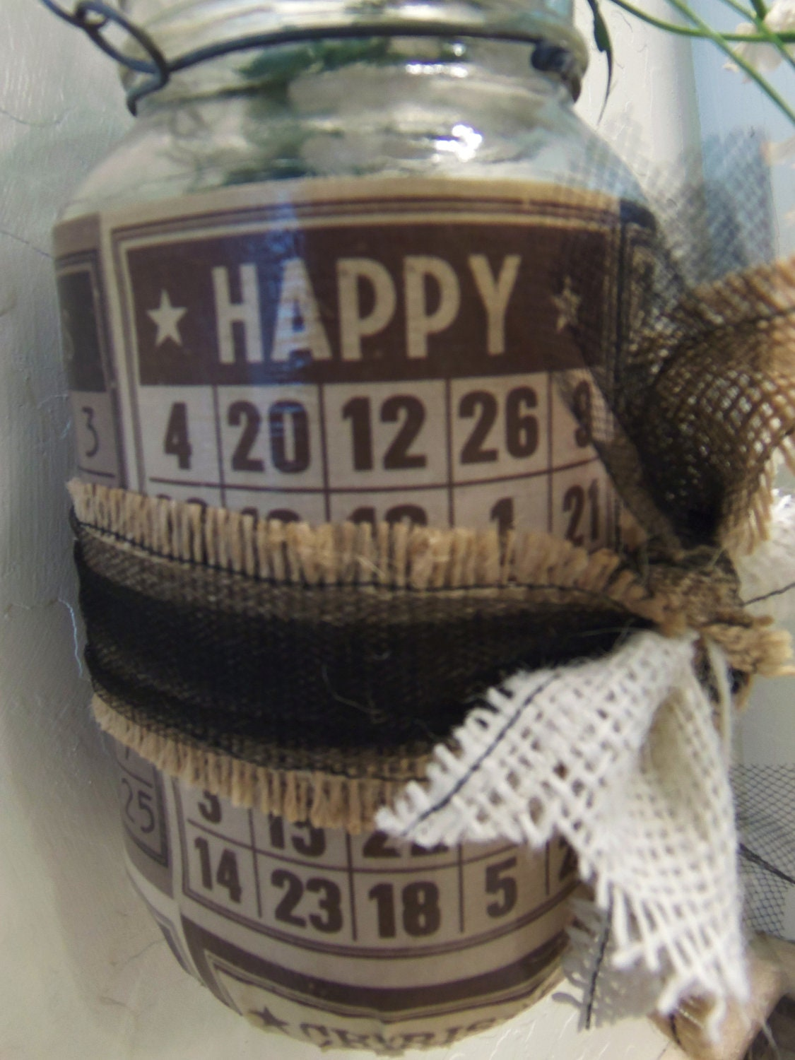 SALE Hanging Mason Jar Bingo Paper Holds by picadillymarket