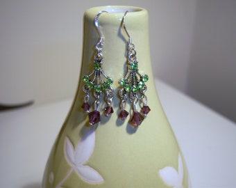 Swarvoski Crystal purple and green chandelier earrings
