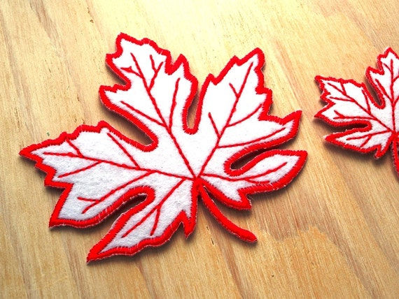 Canada Maple Leaf Embroidered IronOn Patch White Red Canadian Maple Leaf Design
