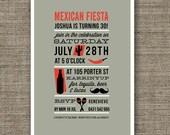 Mexican Fiesta Theme Birthday Invitation (Printable PDF) for 30th, 40th, 50th, 18th, 21st.