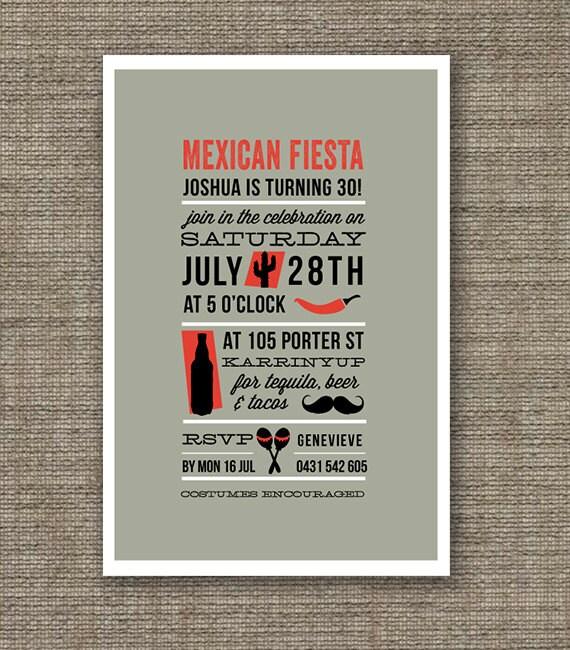 Items Similar To Mexican Fiesta Theme Birthday Invitation