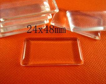 20pcs 24x48mm glass cabochon rectangle flat glass titles