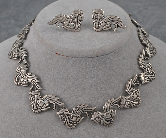 Vintage Mexican Silver Necklace and Earrings
