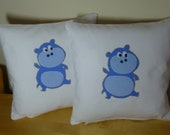 handmade cushion set of two, for child, for baby, for boys, personalized with applique patern.
